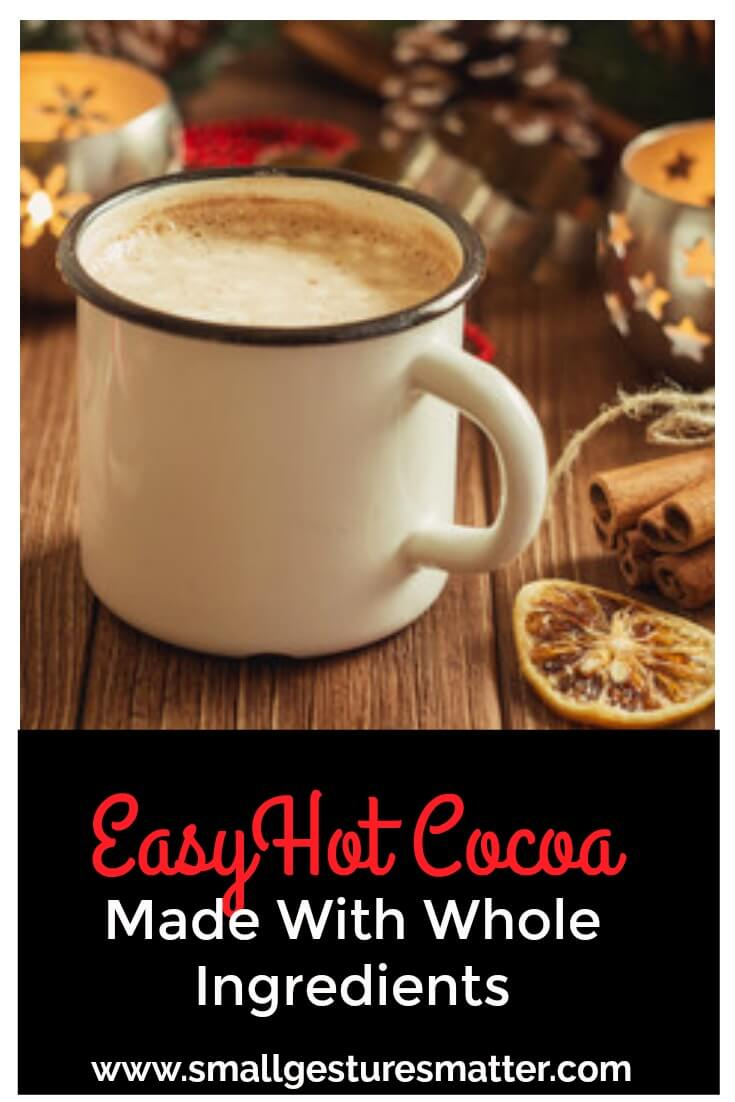 easy hot cocoa made with whole ingredients no refined sugar