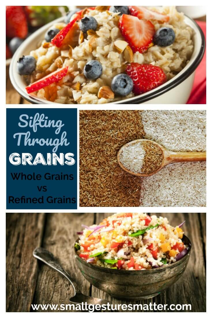 Collage of foods containing whole grains.