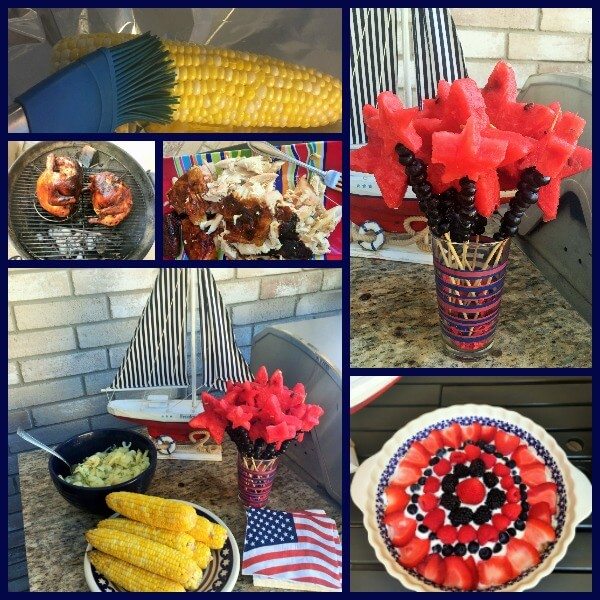 collage of food for a patriotic party