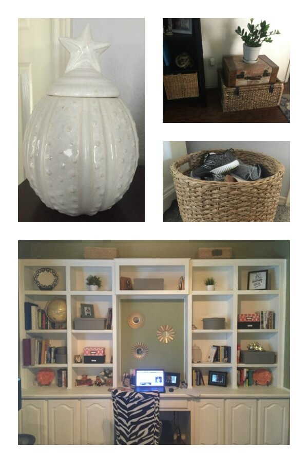 collage of decorative containers, baskets and boxes of all sizes for storage
