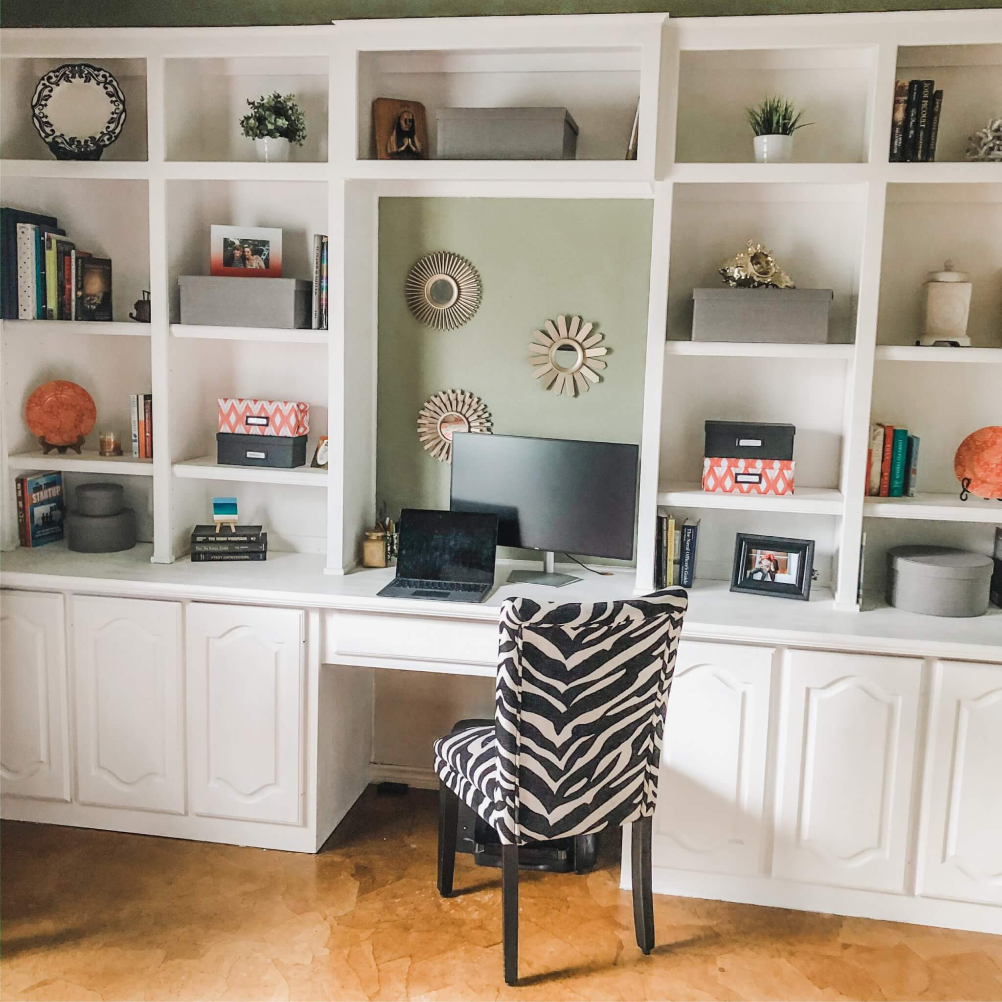 office shelves with decorative boxes