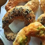 Homemade bagels made with Greek yogurt and whole wheat flour.