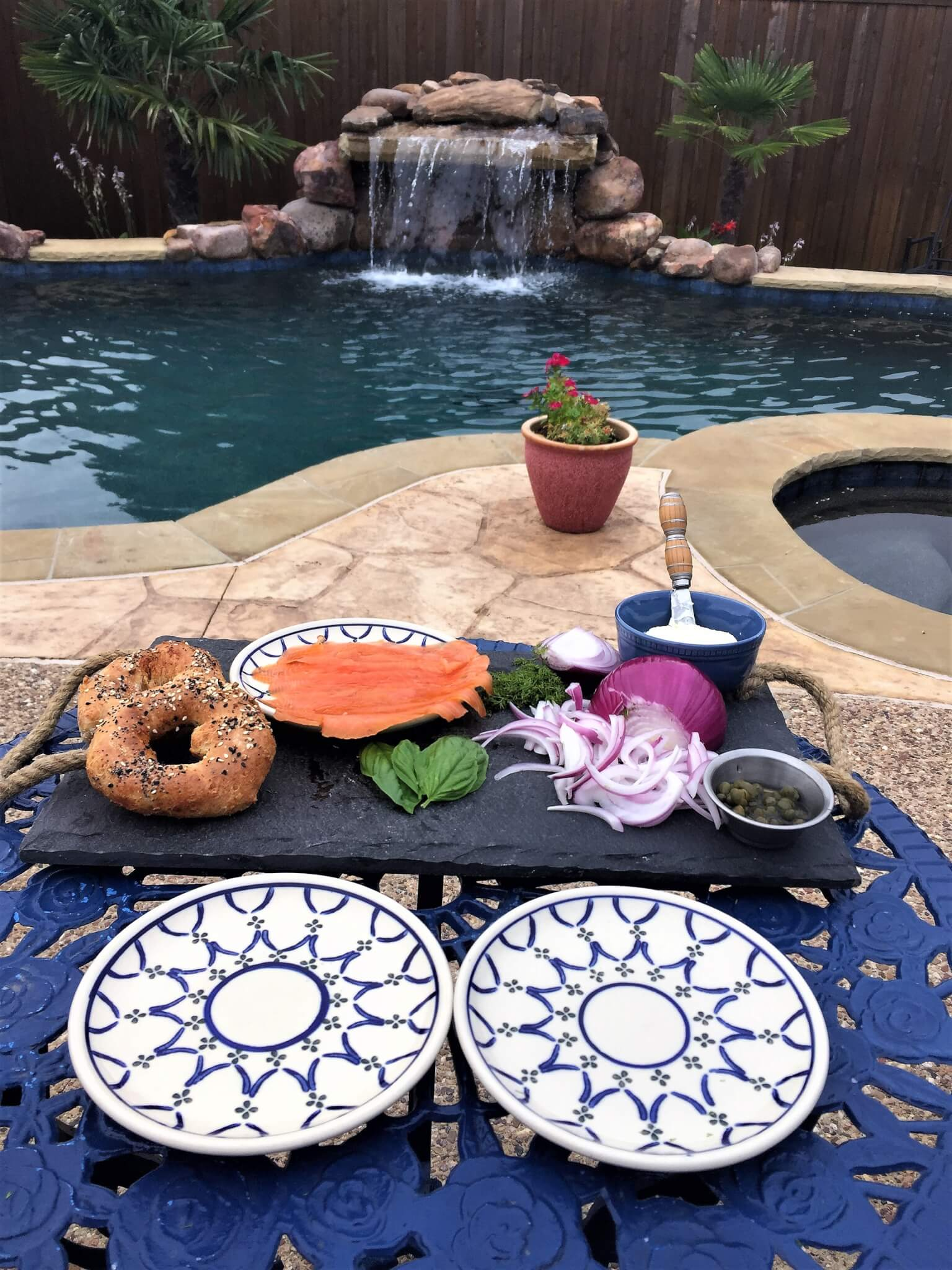 Homemade bagels poolside