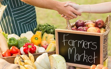 shaking hands at a farmer's market