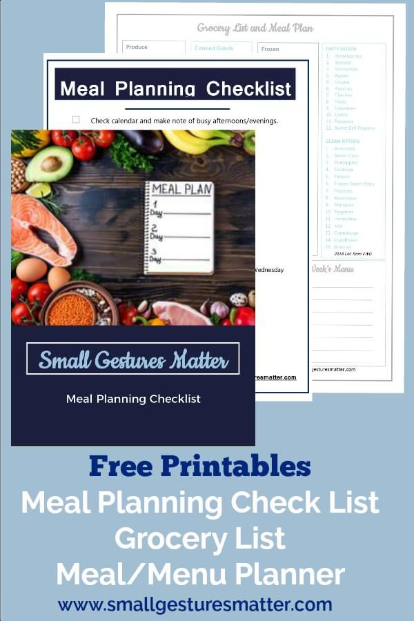 Grocery List, meal plan/menu template, and meal planning check list