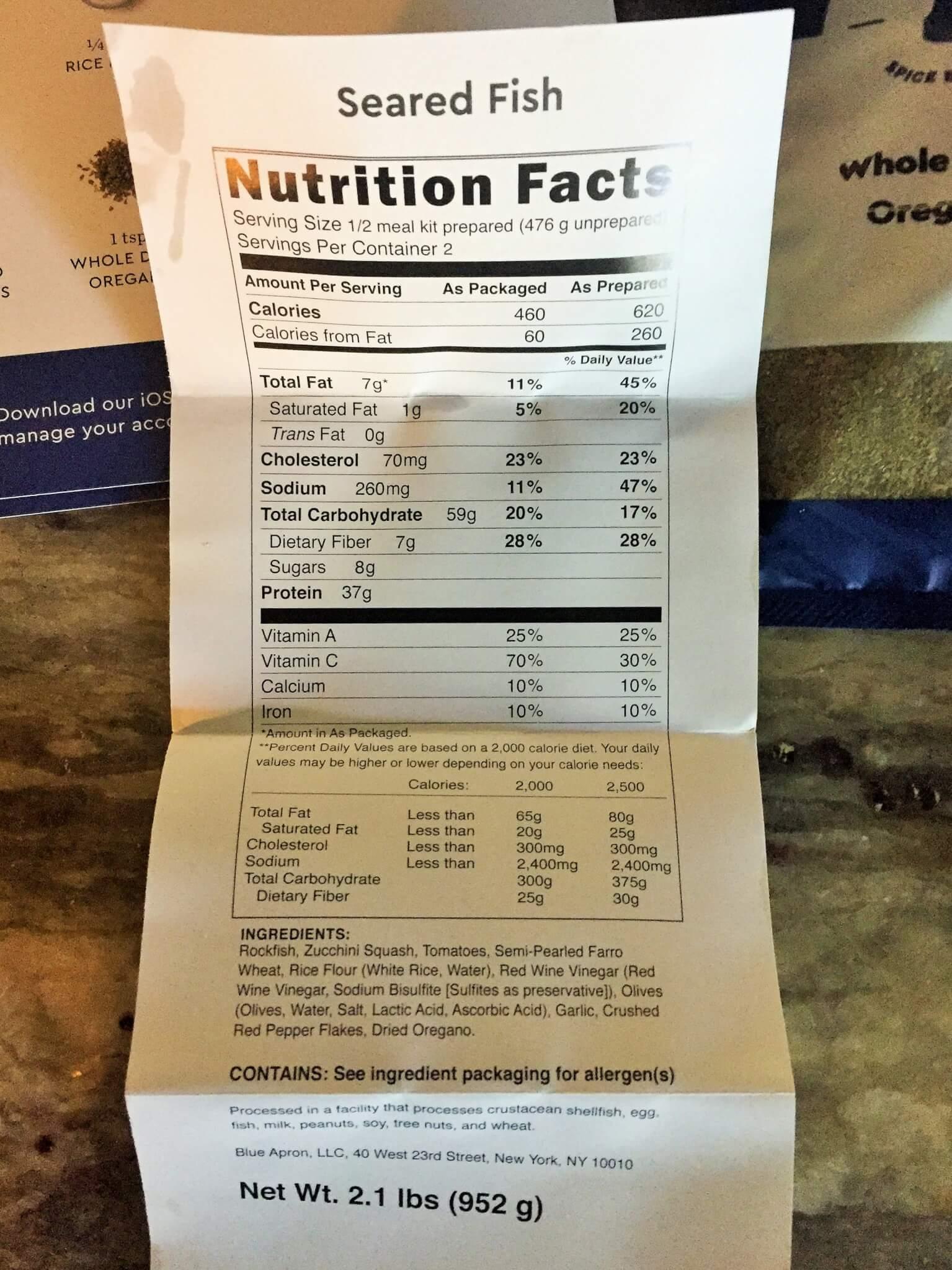Blue Apron Nutrition Facts