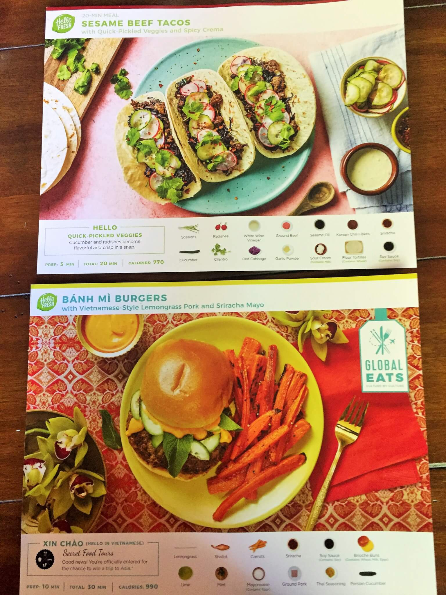 Hello Fresh Recipe Cards for Sesame Beef Tacos and Banh Mi Burgers