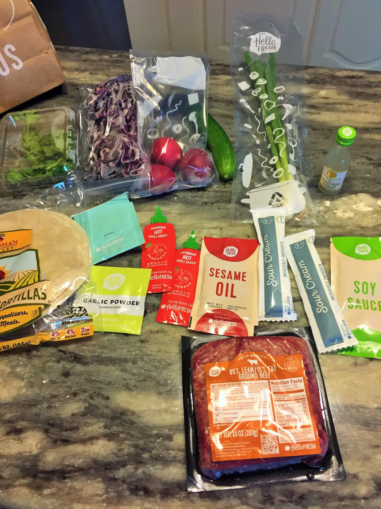 Ingredients for Hello Fresh Sesame Beef Tacos