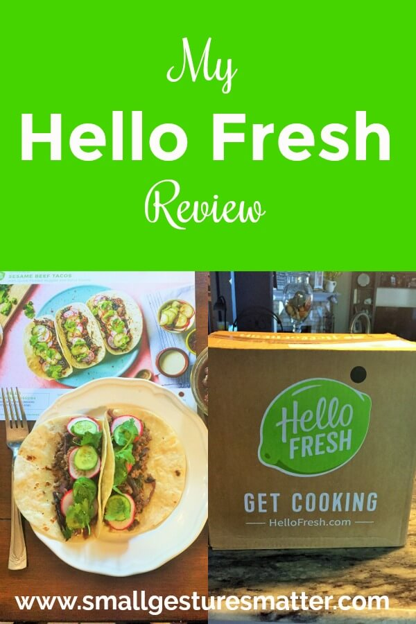 Hello Fresh Review Collage with pic of meal and box