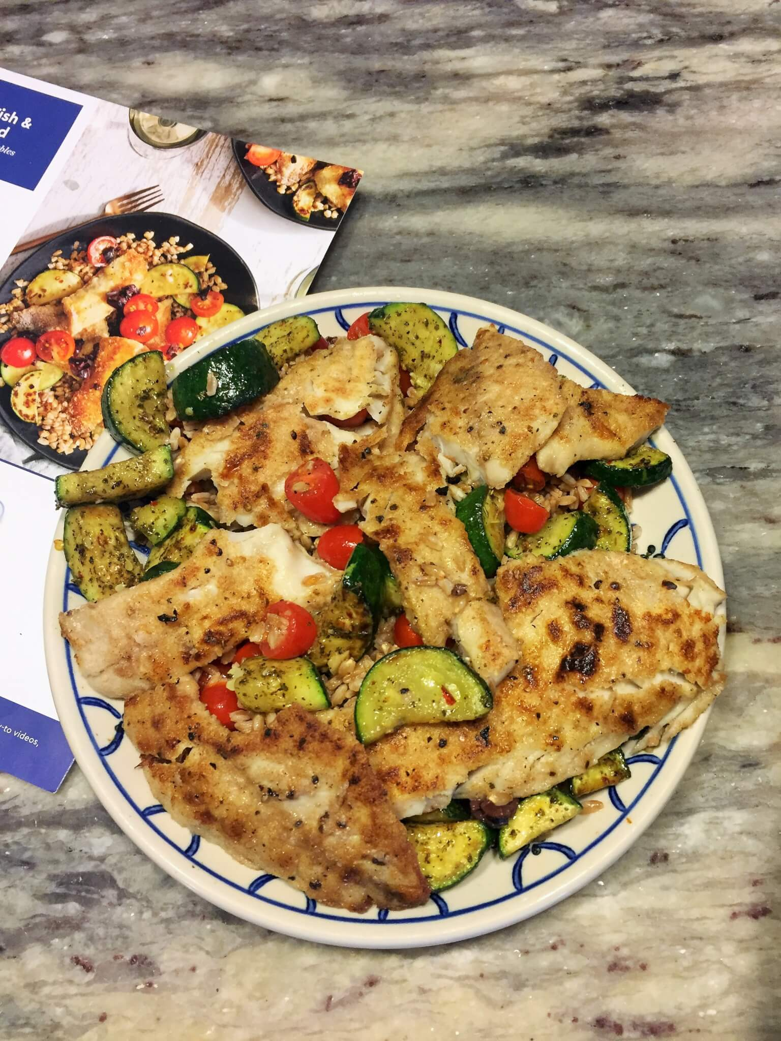Blue Apron Cooked Meal Seared Fish and Farro Salad