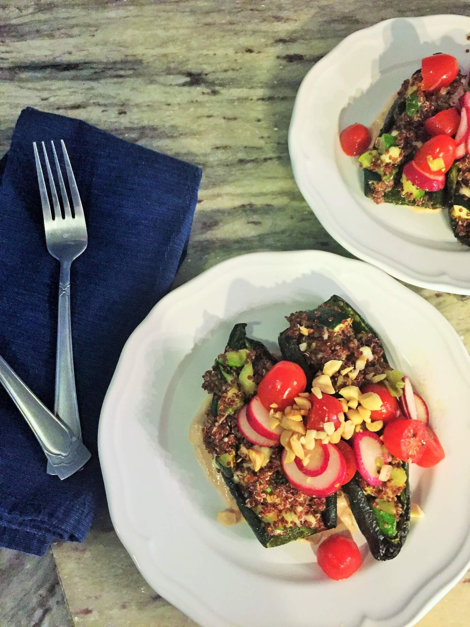 Blue Apron Stuffed Poblano Peppers