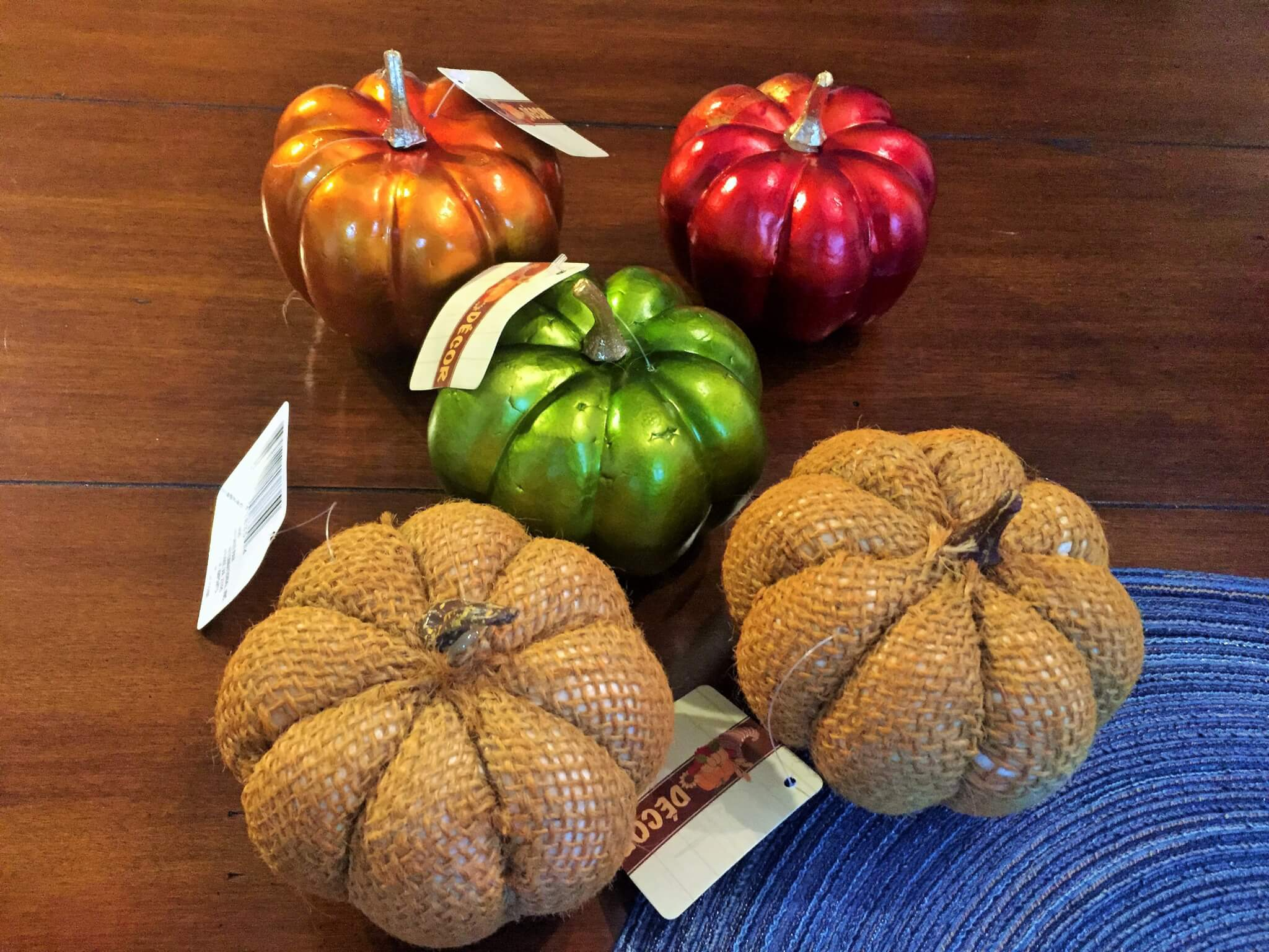 Dollar Tree Pumpkins for fall tablescape centerpiece