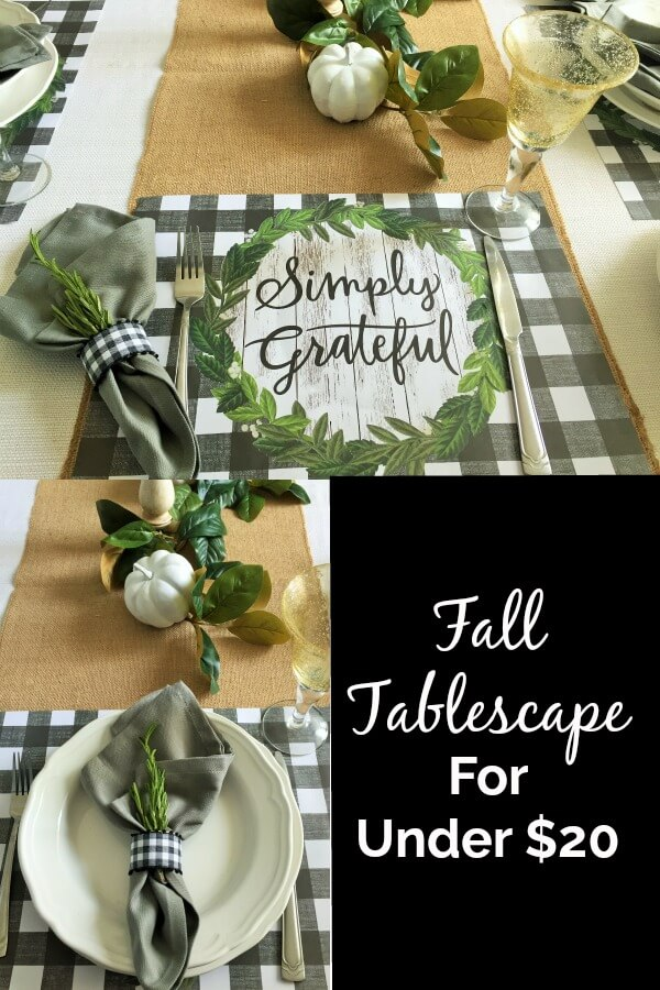Fall Tablescape collage with buffalo check placemat