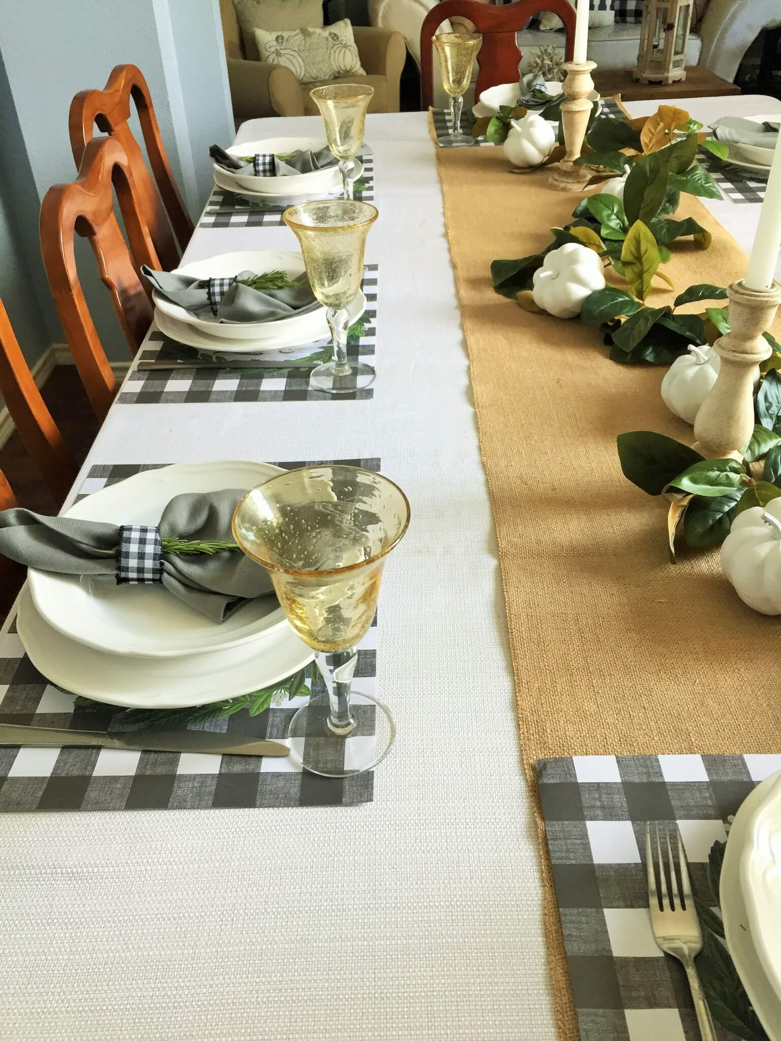 Fall Tablescape with Ikea white plates