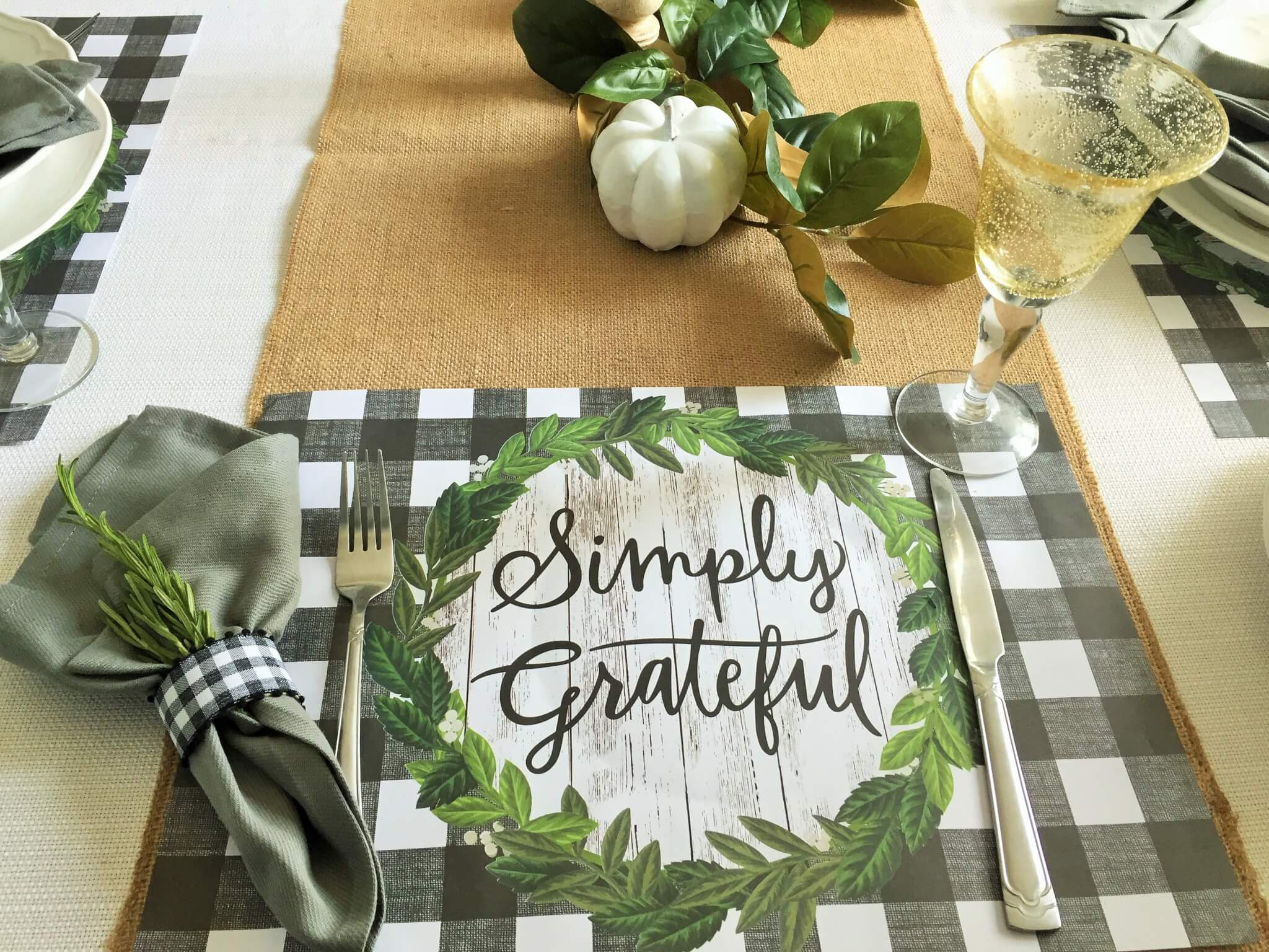 fall table setting with buffalo check placemats and diy napkin rings