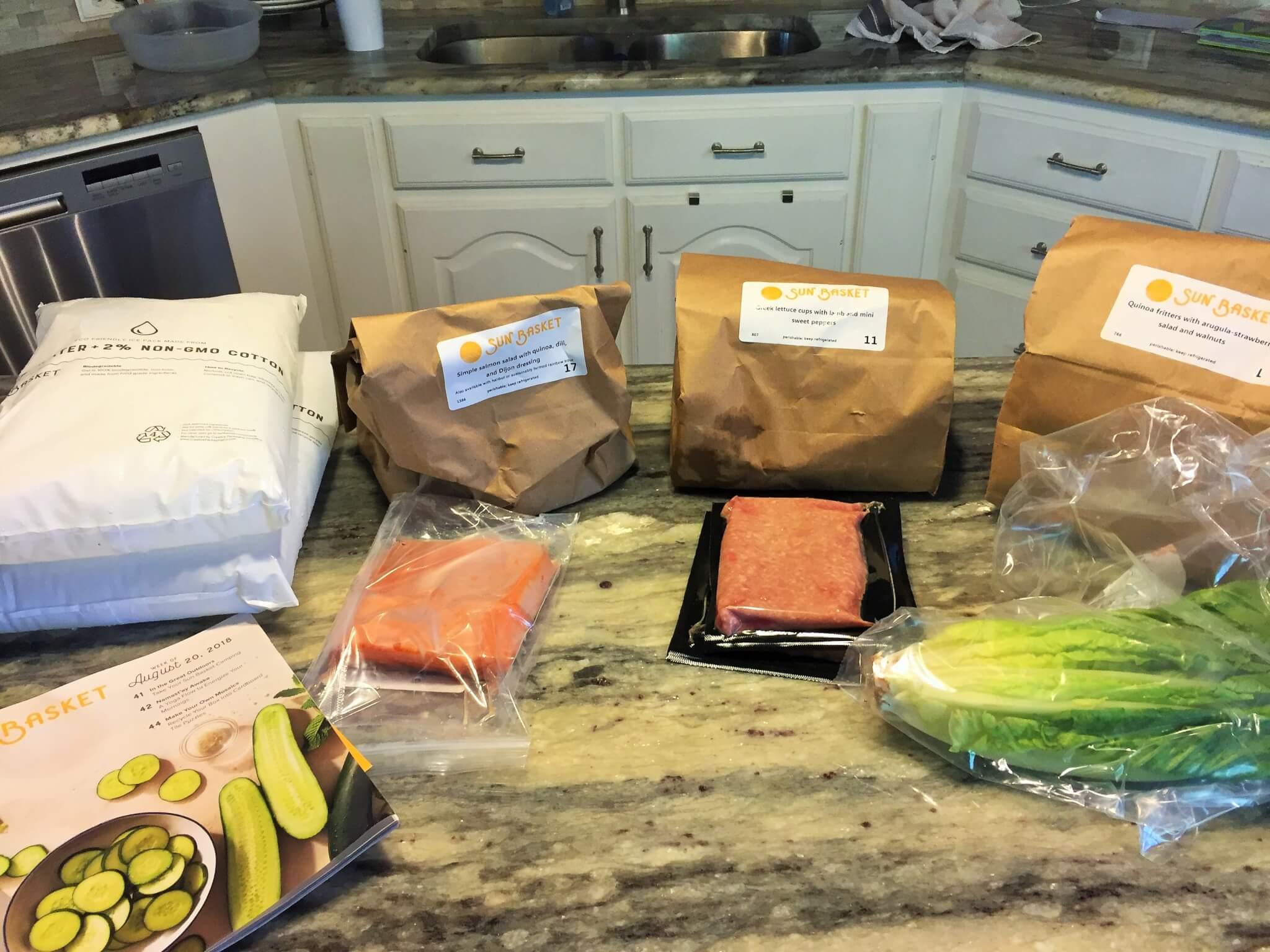 Sun Basket meal kit contents.