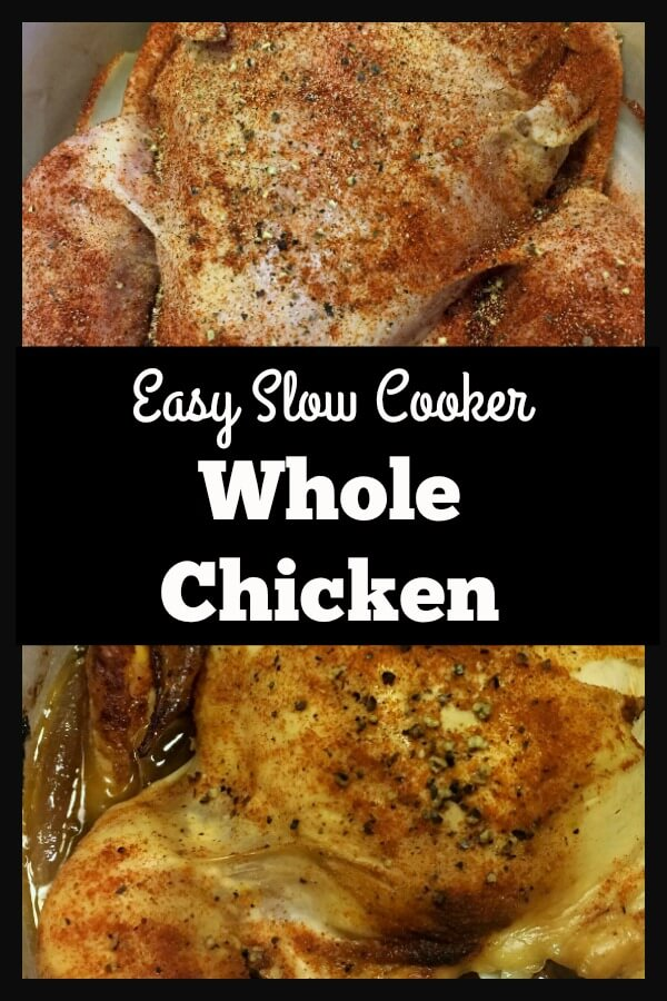 This easy slow cooker whole chicken is so juicy and delicious. It's one of the best recipes ever. Vegetables can be added to the crockpot for a one-pot meal or the chicken can be shredded and used for salad, paninis, soup, or quesadillas. Once you try it you will say goodbye to your grocery store rotisserie chicken. #slowcookerwholechickenrecipe #slowcookerrotisseriechicken #healthyslowcookerchicken #crockpotwholechicken #smallgesturesmatter