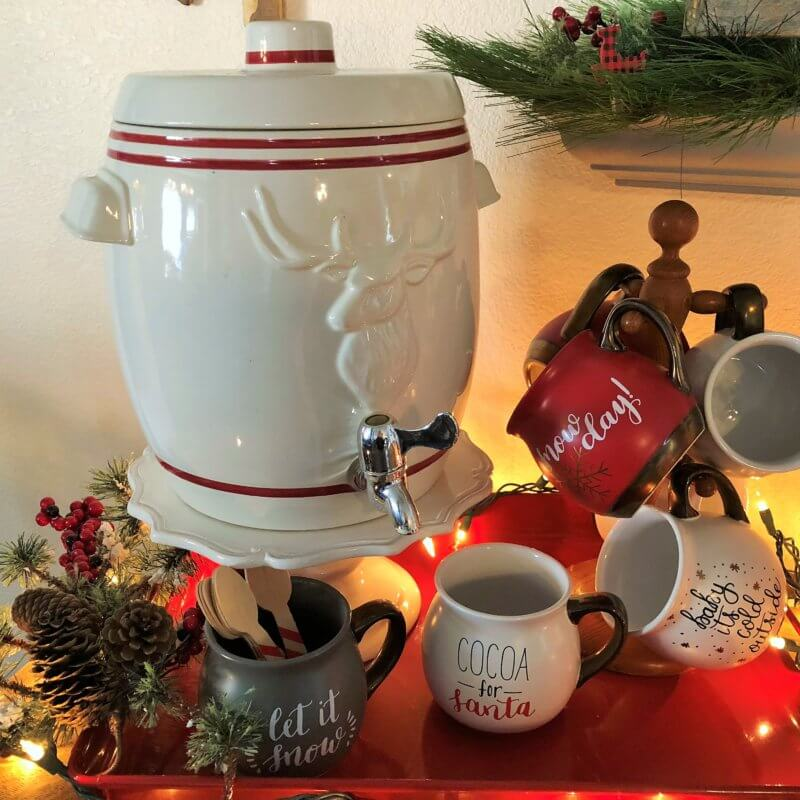 Hot Cocoa Bar Mugs and Dispenser