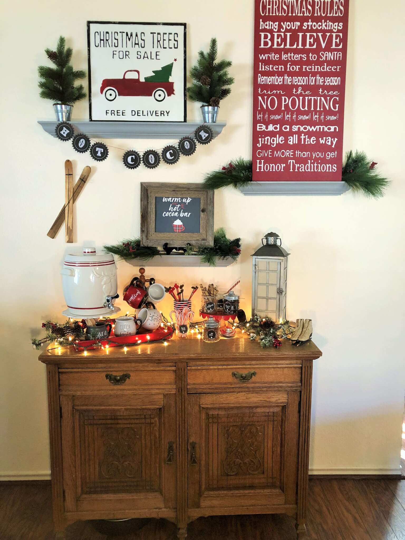 Hot cocoa bar station with free hot cocoa bar sign and topping tags