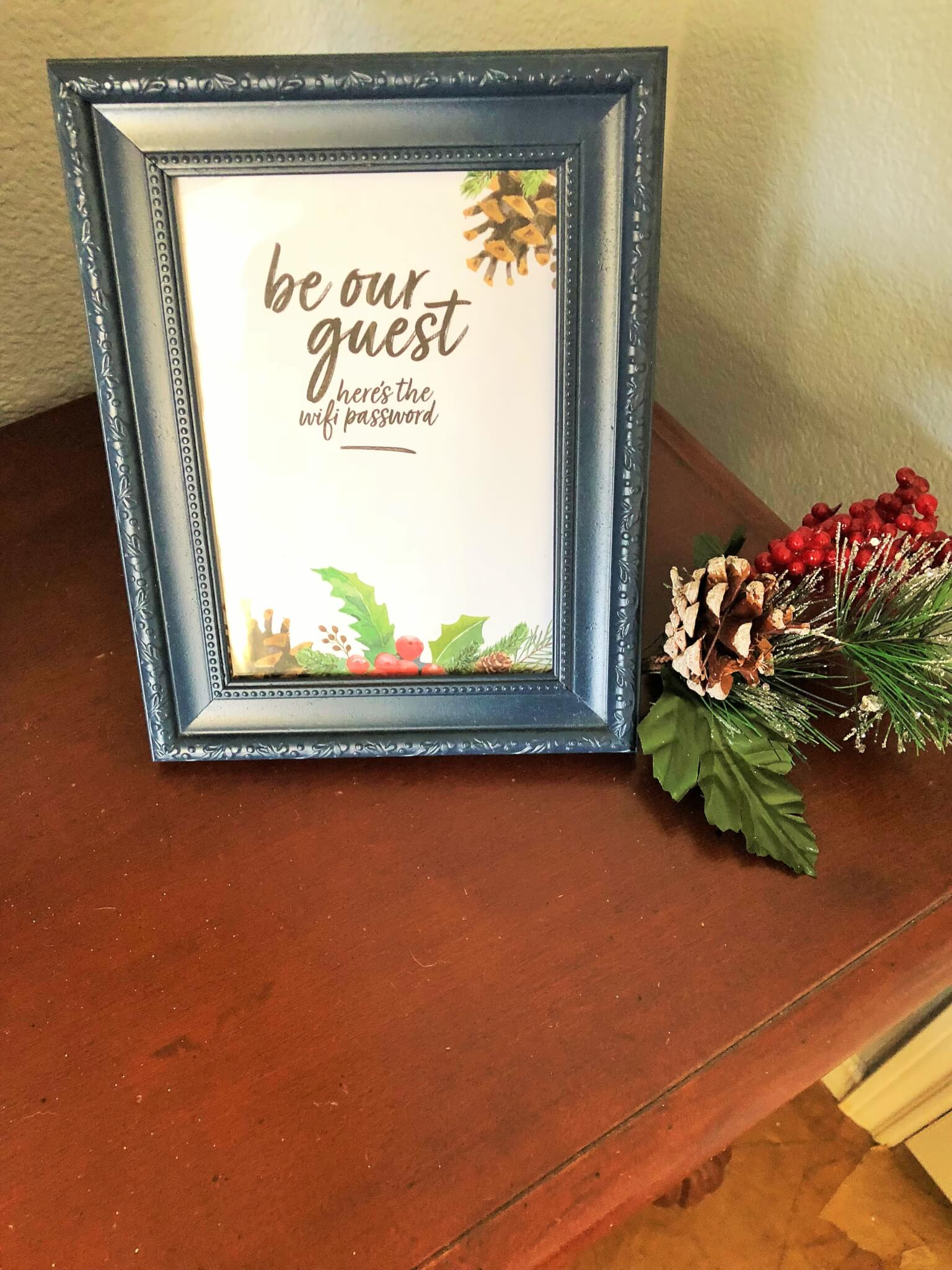 free 5 x 7 holiday wifi password sign