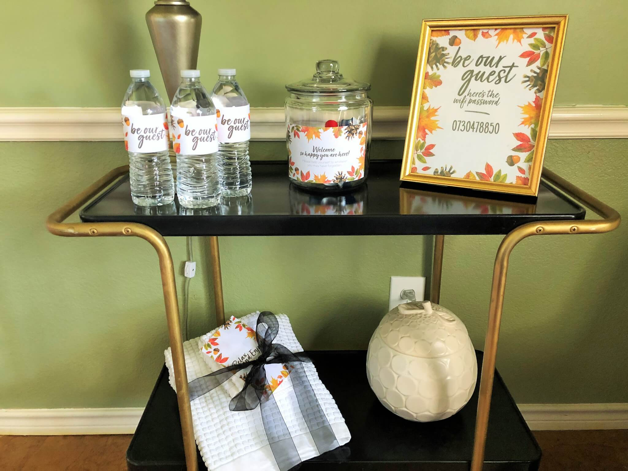 guest room cart with essentials