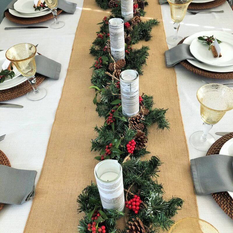 Christmas Centerpiece with DIY Garland so pretty