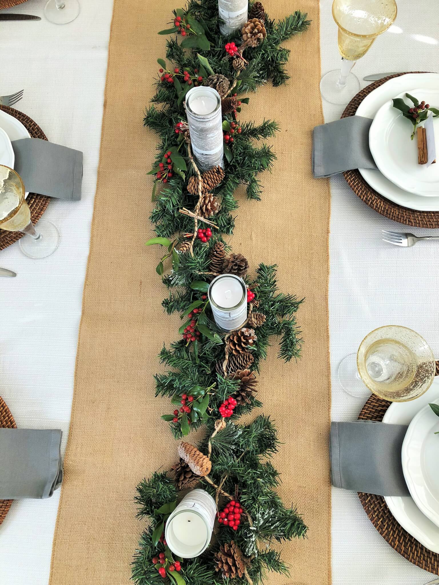 Beautiful Easy Christmas Centerpiece with DIY Garland