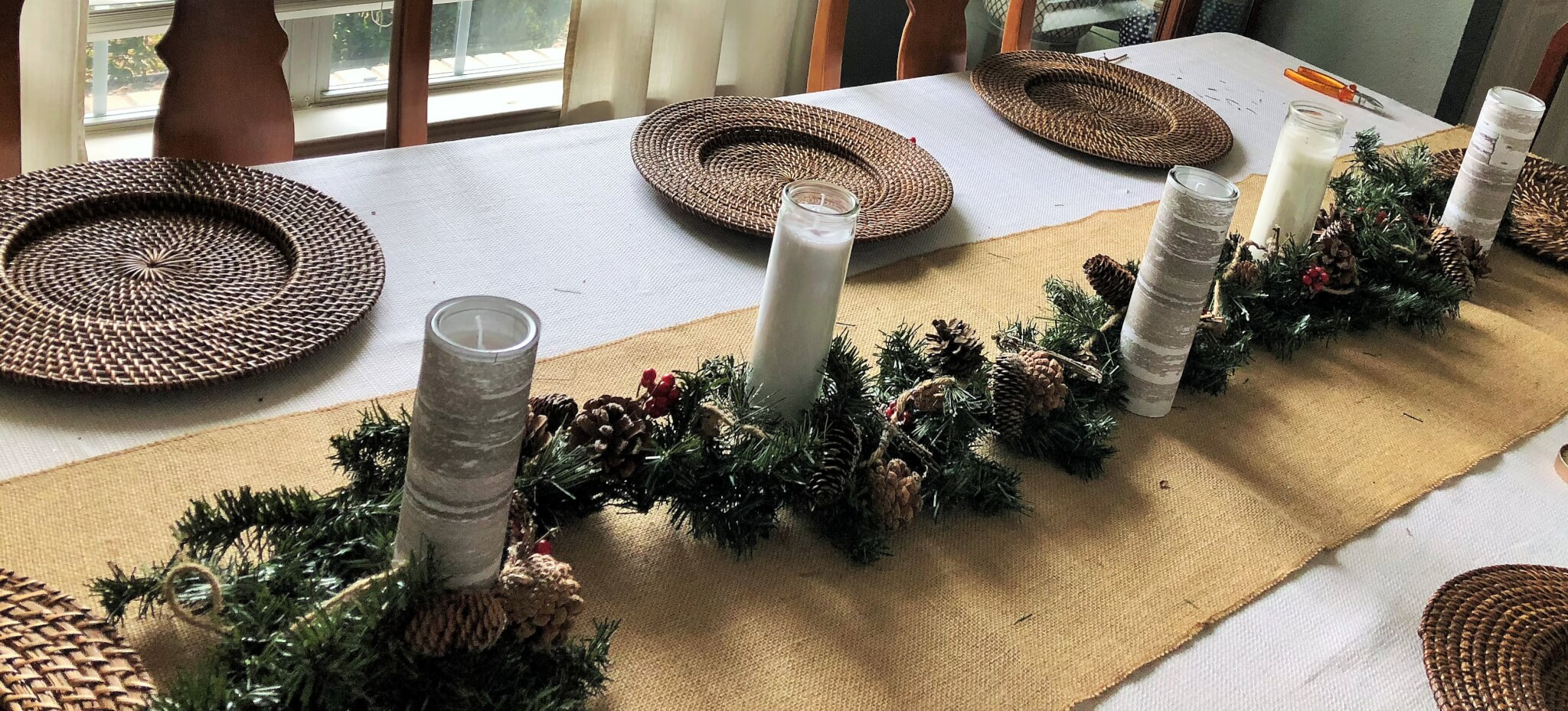 DIY Dollar Store Candles for Christmas Centerpiece