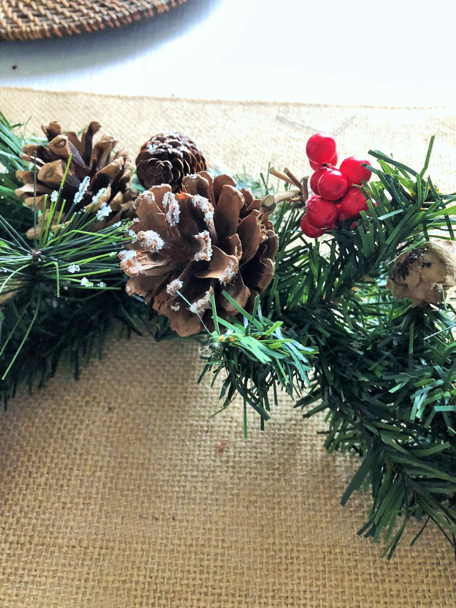 Garland With Pinecones For Christmas Table Centerpiece Small