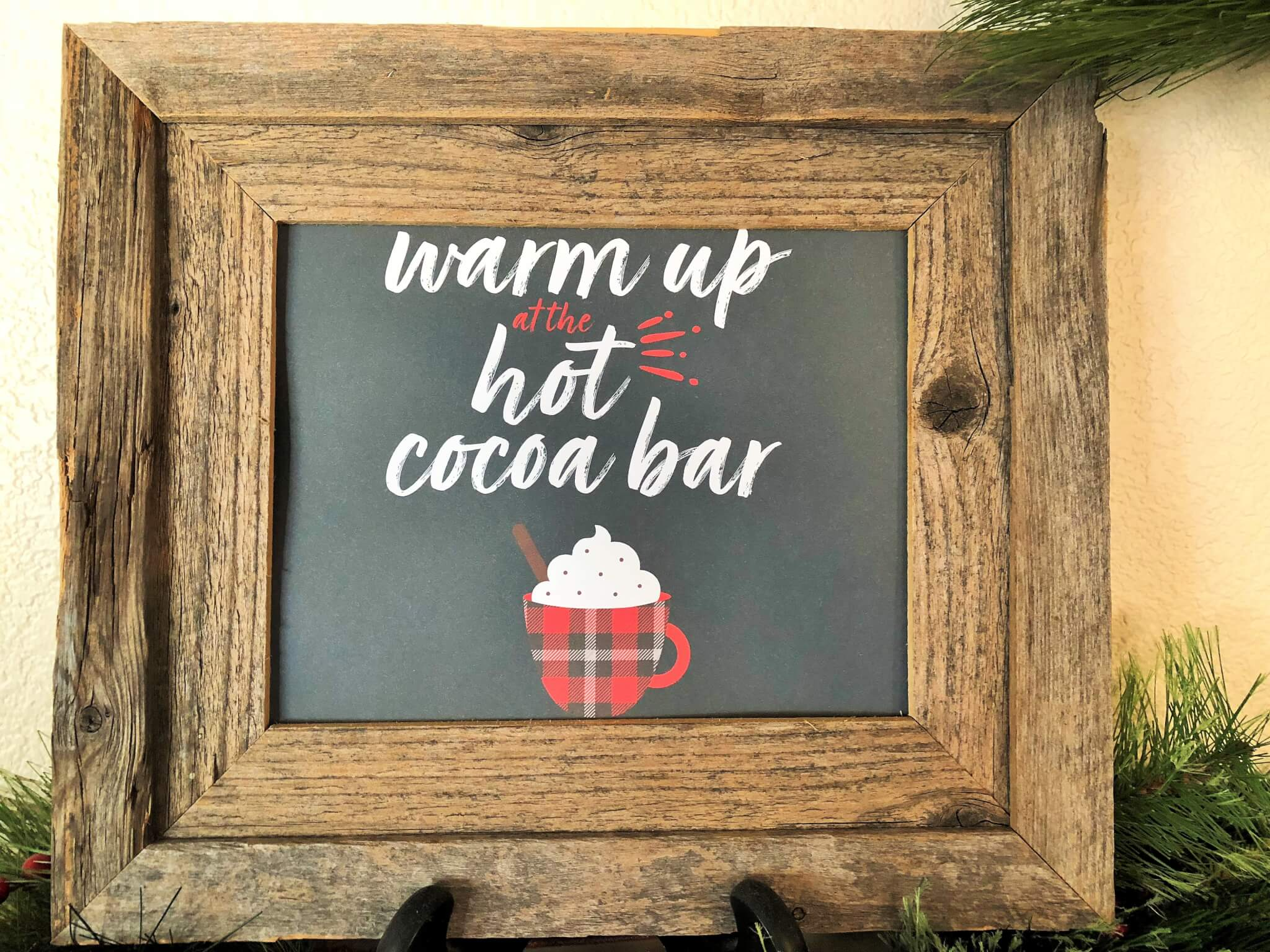 Buffalo Plaid Hot Cocoa Bar Free Printable Sign