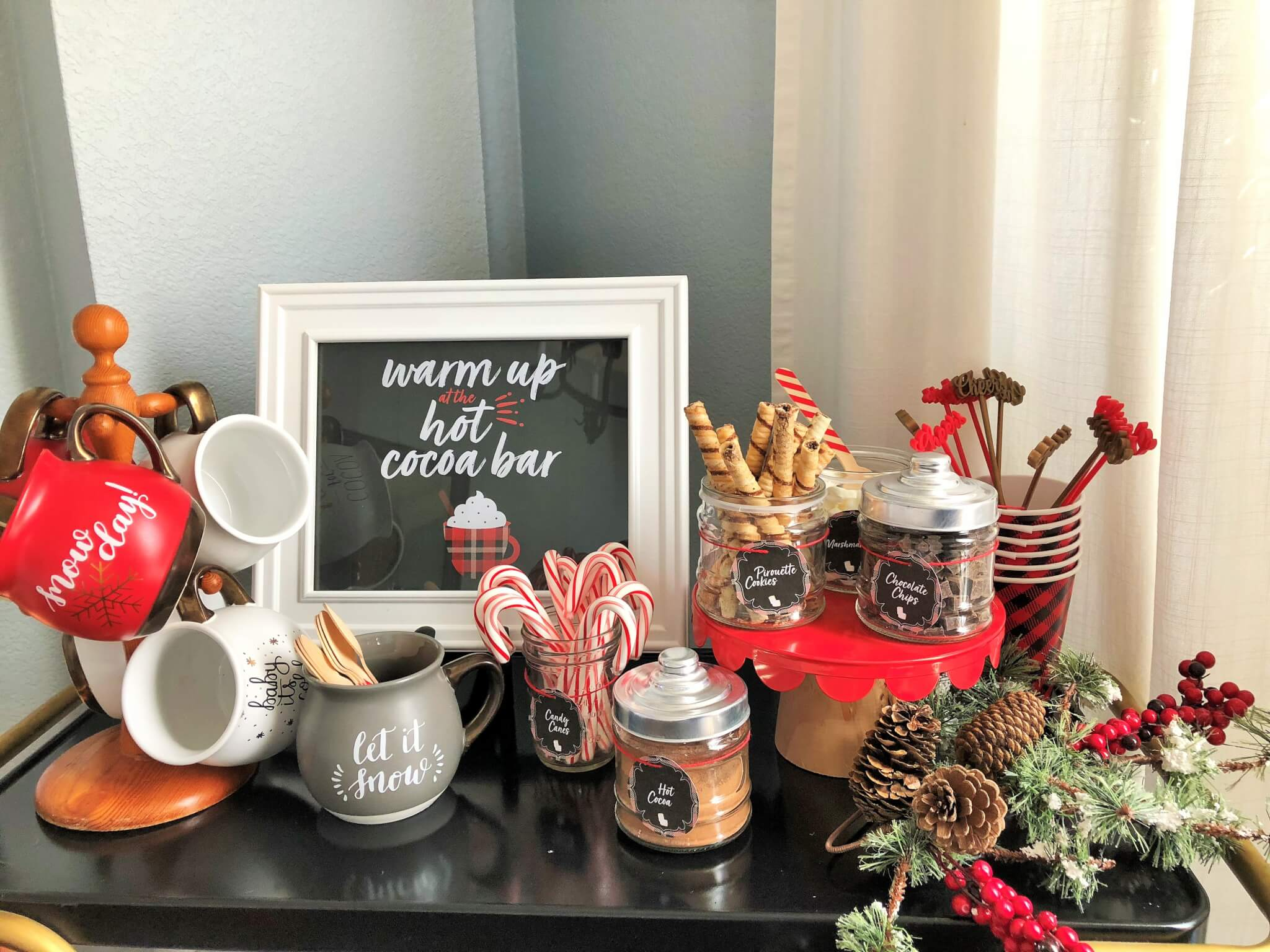 Hot cocoa bar with free printables and toppings