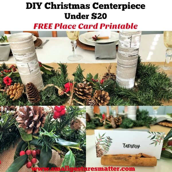 DIY Christmas Centerpiece for Holiday Tablescape with Free Place Card Printables