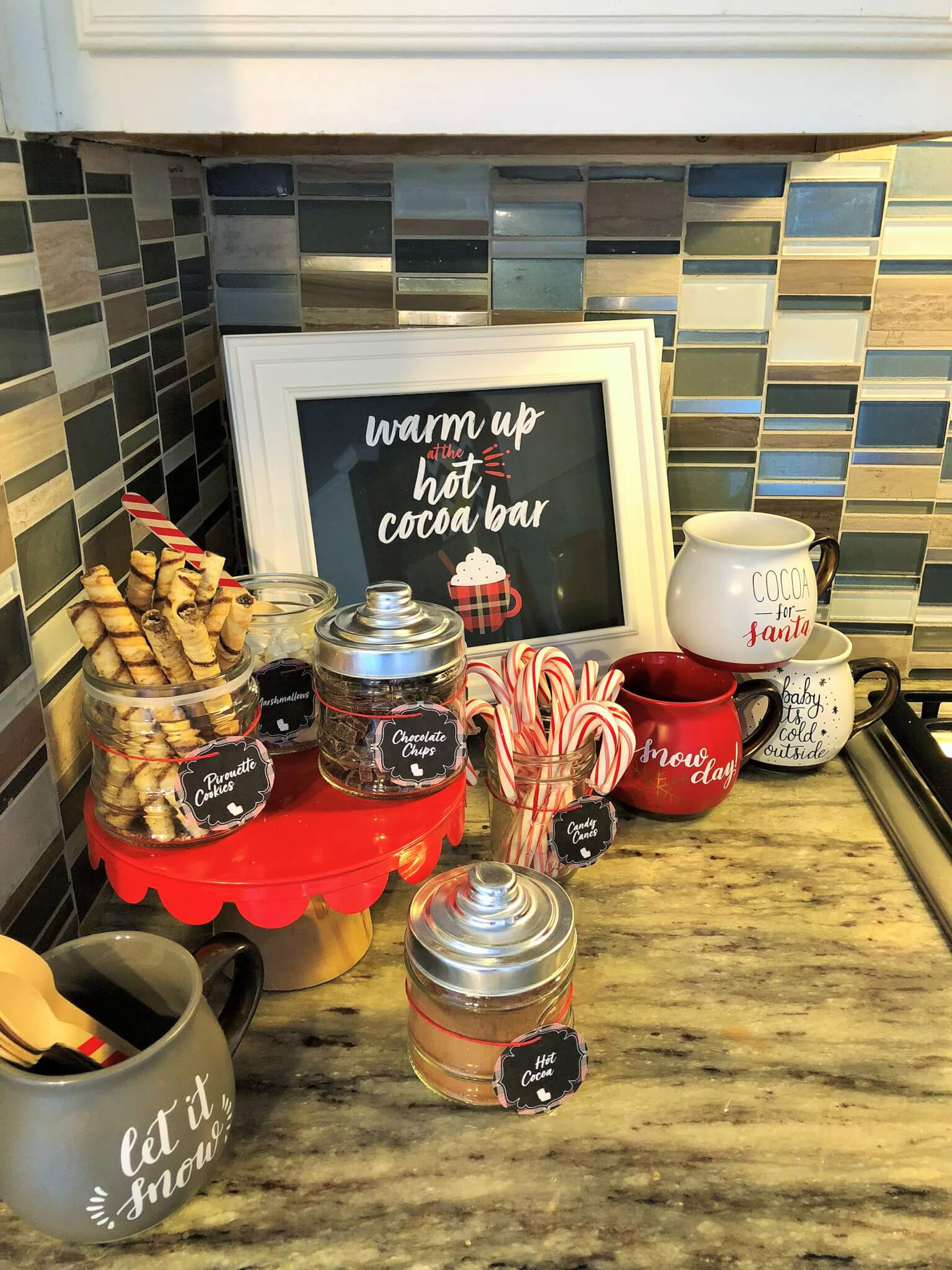 Hot Cocoa Station on kitchen counter