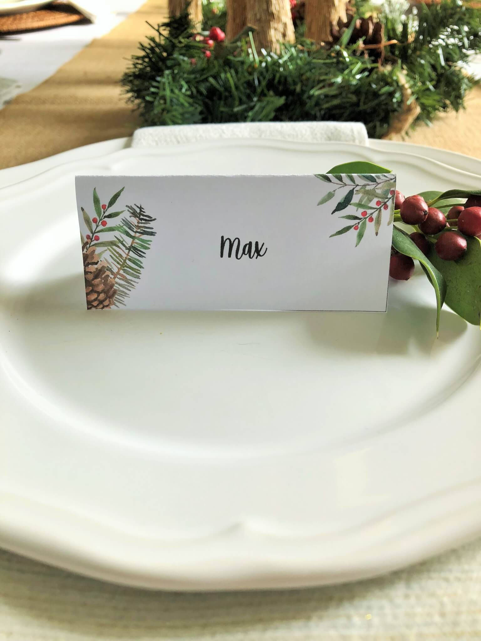 Free Christmas Place Card Printable