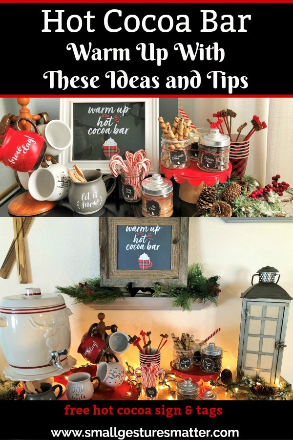 Hot Cocoa Bar ideas and tips with free printable sign and tags