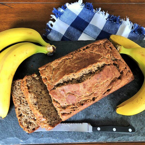 100% Whole Wheat Banana Bread Contains syrup instead of sugar and has yogurt for flavor and moistness