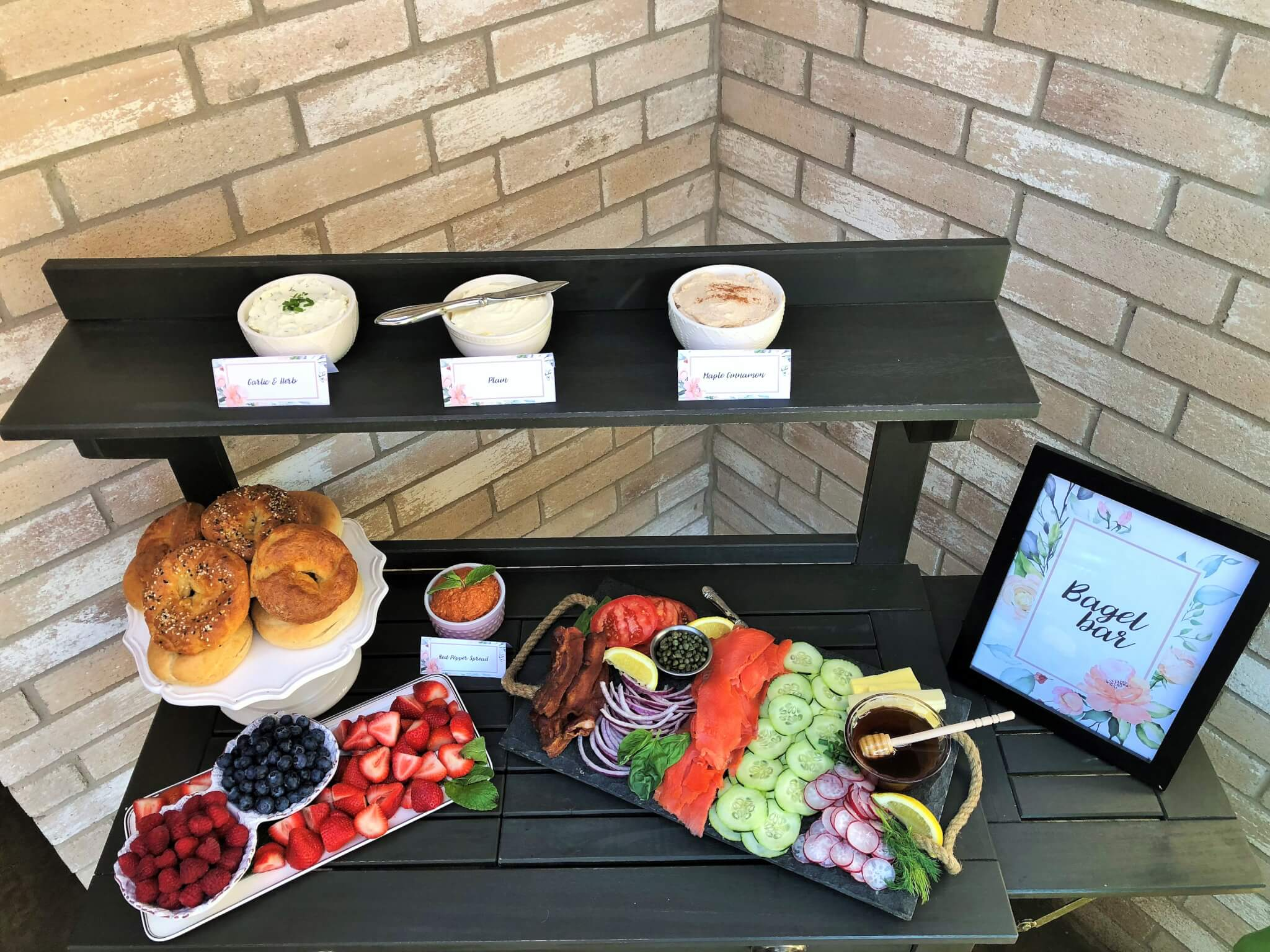 DIY Bagel Bar with Free Bagel Bar Printables