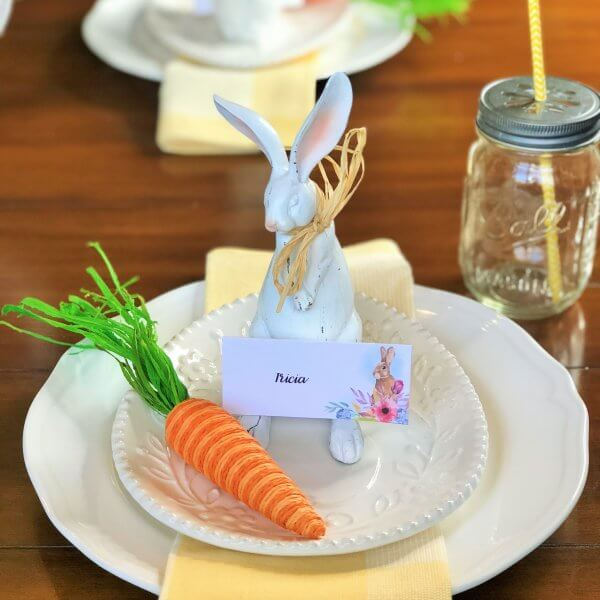 Easter Table Place Setting with place cards