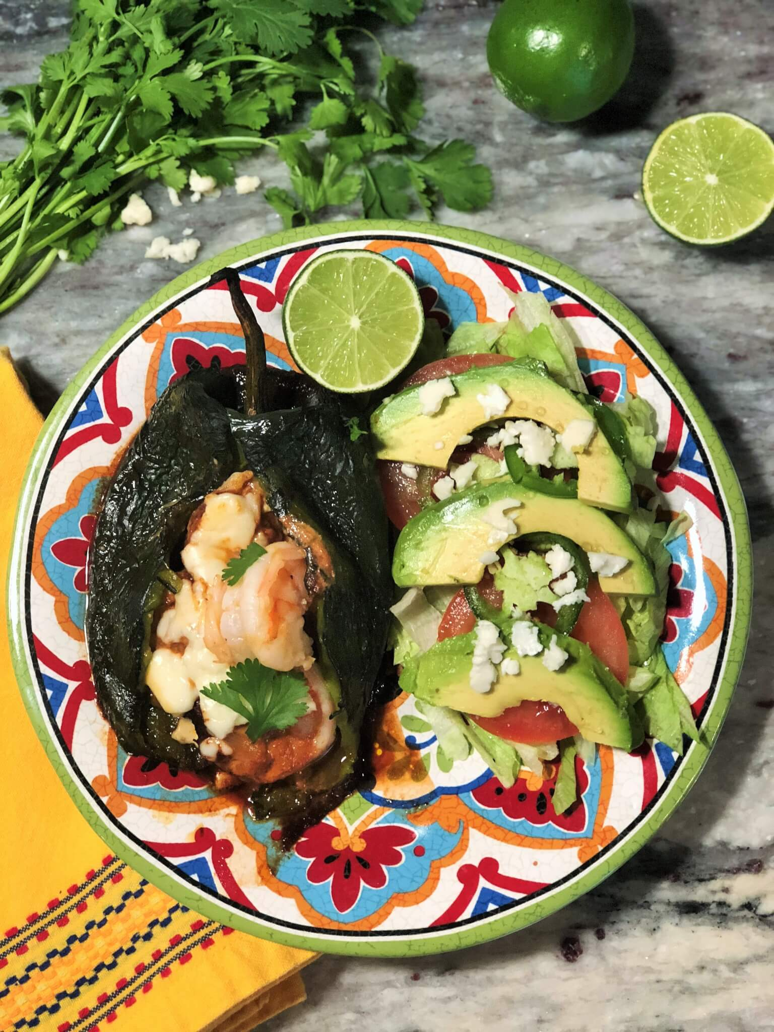 Plated Shrimp Chiles Rellenos with Avocado Salad