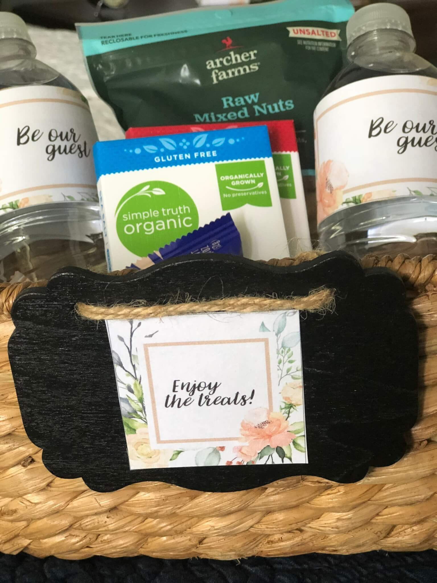 Enjoy the treats free printable for guest room snack basket