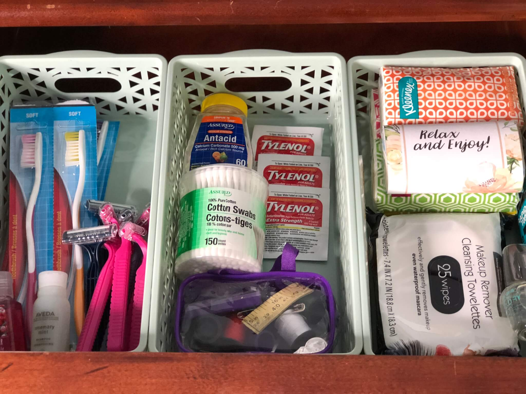 extra toiletries for guest room