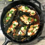 Baked chiles rellenos with shrimp