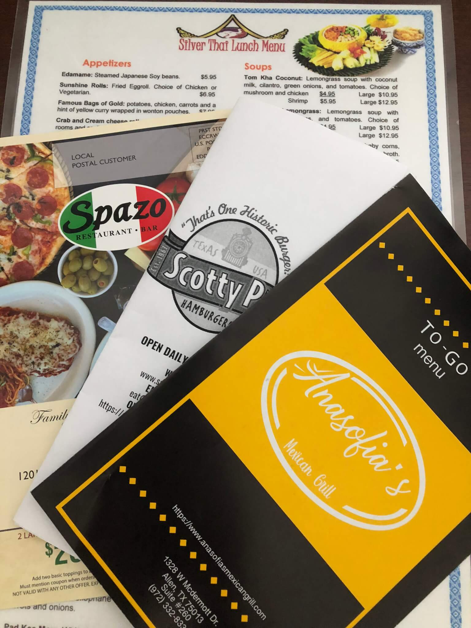 menus from local restaurants