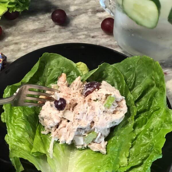 Healthy Chicken Salad on Bed of Lettuce
