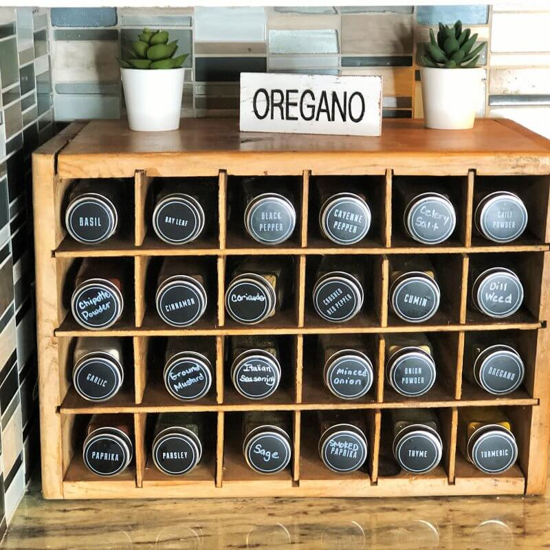 Vintage Crate for countertop spice organization