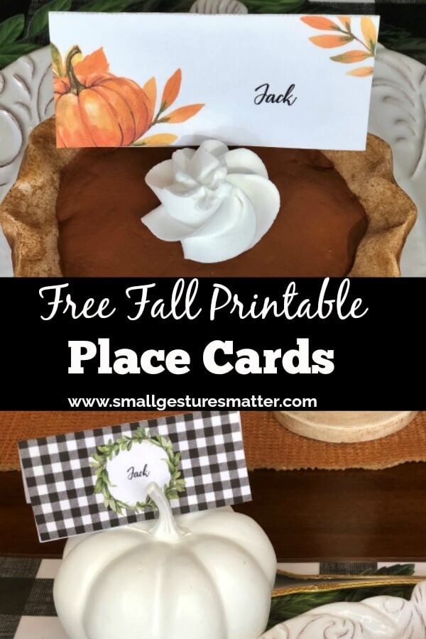 Free Fall Printable Place Cards