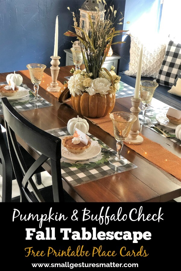 Pumpkin and Buffalo Check Fall Tablescape with Free Pumpkin Place Cards