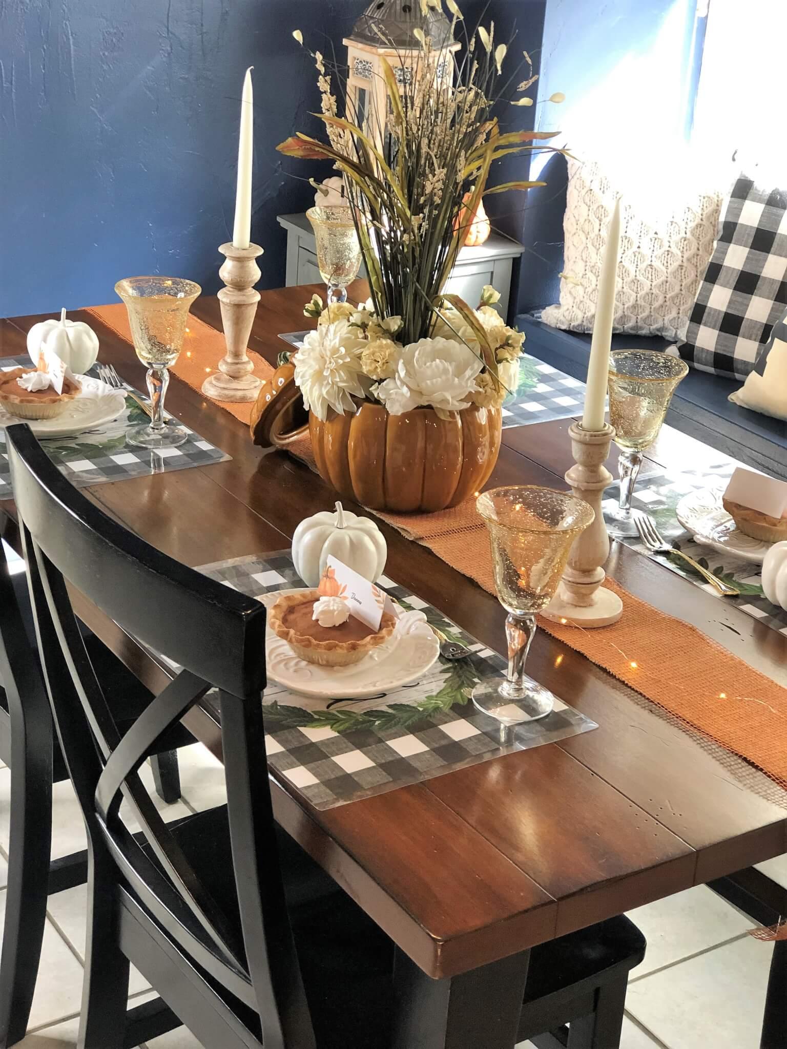 Pumpkin and Buffalo Check Fall Tablescape