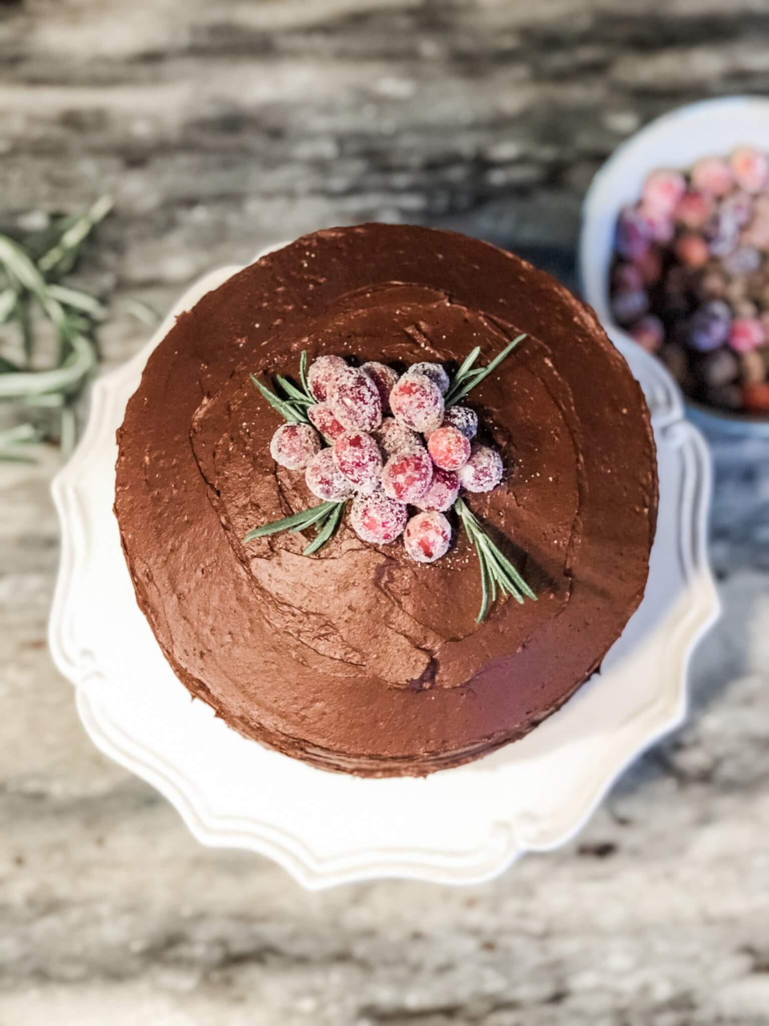 chocolate cake with frosted cranberries for holiday tablescape
