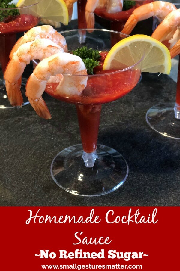 shrimp cocktail appetizer with homemade cocktail sauce